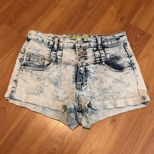 Stitches High-Rise Bleached Jean Shorts